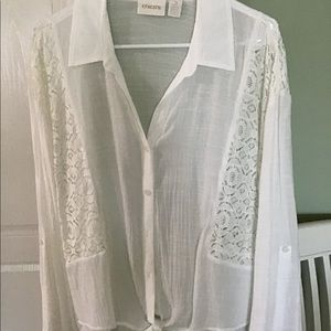 Chico's white tie front blouse